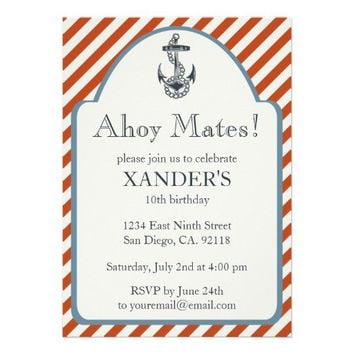 Anchor Birthday Party Invitations Nautical Theme from Zazzle.com