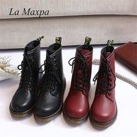 La MaxPa 2018 Leather Women Boots Dr Martin Boots Shoes High Top Motorcycle Autumn Winter Shoes Woman Snow Lace Up Boots