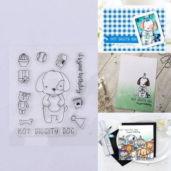 ZOTOONE Animal Dog Clear Stamps for Scrapbooking Christmas Background Silicone Stamps Rubber Stamps for Card Making Decoration F