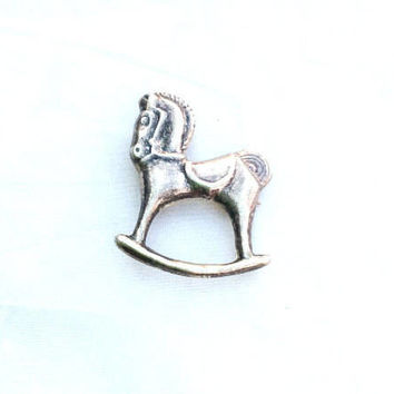 Rocking Horse Brooch Pendant, Victorian, Sterling Silver, Vintage Jewelry SPRING SALE