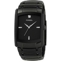 Fossil Men's Three-Hand Stainless Steel Black Dial Dress Watch with Black IP