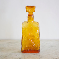 Mid century Modern Brutalist Honey Amber Empoli Italian Crinkled Glass Decanter Circa 1950-1960s