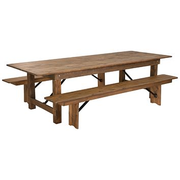 "HERCULES Series 9' x 40"" Folding Farm Table and Two Bench Set"