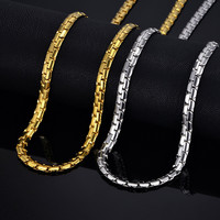 "Mens Gold Chain Necklace 6MM Long Necklace for Men 20"" 26"" Gold Color Stainless Steel Link Chain Necklaces Men Collier"