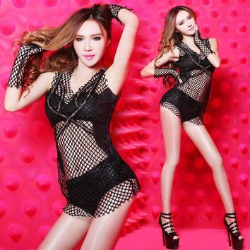 PEAPUNT (4-piece sets ) Bra+Shorts+Mesh Tops+Gloves, New Bar Dance Sets female singer fashion sexy ds wear Dancer performance costumes