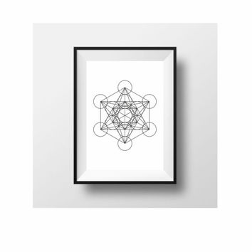 Metatrons Cube geometric print black and white wall art decor (from US Letter up to A0 size)