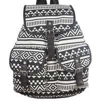 Vonfon Bag Work Place Pattern Canvas Backpack Black