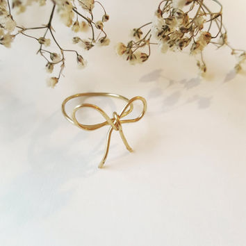 Super Dainty Gold Bow Ring | Bridesmaid ring | Friendship Ring | Delicate Ring - FREE SHIPPING