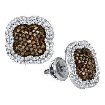 10kt White Gold Women's Round Brown Color Enhanced Diamond Quatrefoil Cluster Earrings 3-4 Cttw - FREE Shipping (US/CAN)