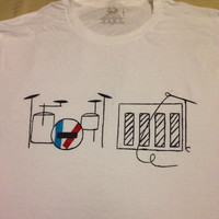 twenty one pilots hand painted piano and drum set band shirt
