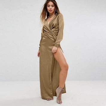Fashion Solid Color Deep V-Neck Ruffle Long Sleeve Split Maxi Dress