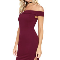 Foxy Lady Burgundy Off-the-Shoulder Bodycon Dress