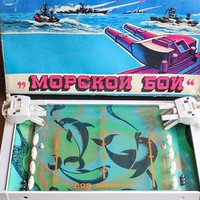 Soviet BATTLESHIP Board Game / Original USSR Морской Бой / Sea Battle / Sea Fight - Large Boxed Game for All Ages, Tin Dolphins Board