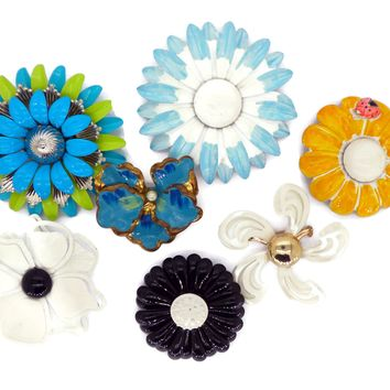 Blue Daisies Enamel Flower Lot, 7 pins, Flower Brooches