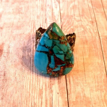 Turquoise in Copper Ring Turquoise Adjustable Statement Ring Gemstone Ring Turquoise Adjustable Statement Ring Turquoise in Copper Ring R57