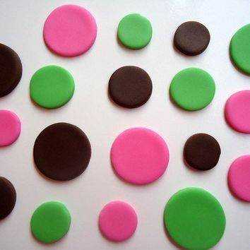 Fondant Cupcake Toppers - Polka Dots - Choose Your Colors