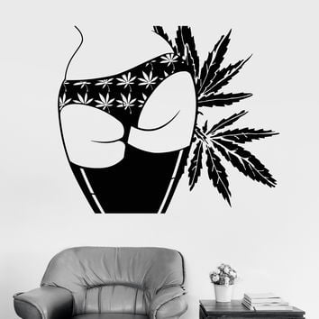 Vinyl Wall Decal Sexy Girl Butt Marijuana Hemp Weed Cannabis Stickers (ig3929)