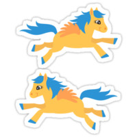 Cute yellow pegasus with blue mane stickers