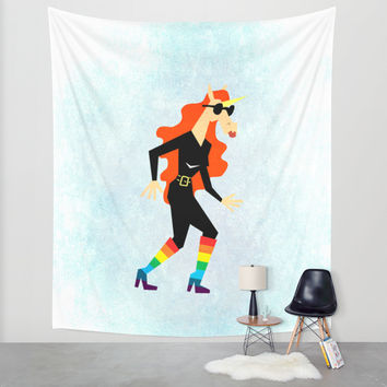 Rainbow Boots Unicorn Wall Tapestry by That's So Unicorny