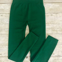 Green Fleece Lined Leggings