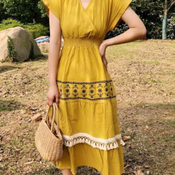 Autumn holiday embroidered fringed dress ethnic skirt