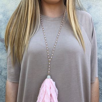 Tessi Tassel Necklace - Pale Pink
