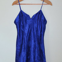 Vintage 90s Celestial Dress Lingerie Cosmic Nightgown Stars Moon and Sun Slip Dress Electric Blue Witch Wiccan Hippie Babydoll Size Medium