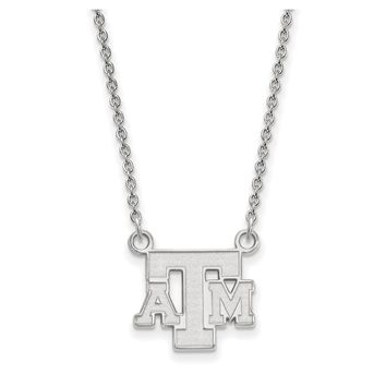 NCAA 14k White Gold Texas A&M U Small Pendant Necklace