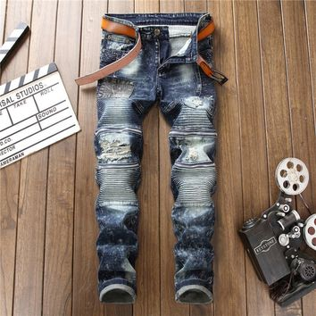 Ripped Holes Pants Ruffle Slim Zippers Denim Jeans [3444985135197]