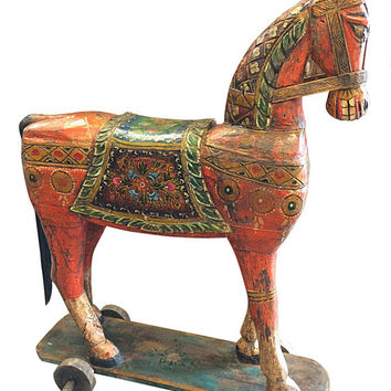 Antique Horse on wheels - Handmade Sculpture Figurine, jaipur Wooden Hand Carved vintage indian Horse