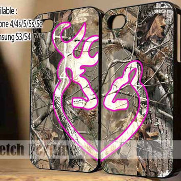 Love Browning Deer Camo Real Tree Love Couple case for iPhone 4/4s/5, Samsung Galaxy S3/S4 Case