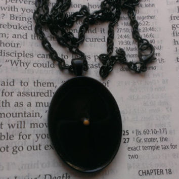 Mustard Seed Necklace - Mustard Seed Faith - Christian Jewelry - Faith Of A Mustard Seed - Baptism - Matthew 17 20 - Black Oval Necklace