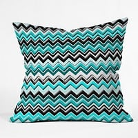 Madart Inc. Turquoise Black White Chevron Throw Pillow