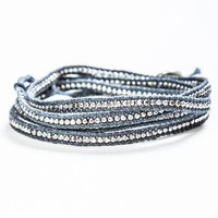 Brandy ♥ Melville |  Silver Beaded Grey Wrap Bracelet - Accessories