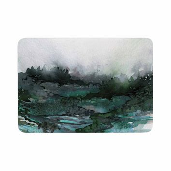 "Ebi Emporium ""The Long Road 2"" Teal Green Watercolor Memory Foam Bath Mat"