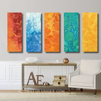 Large abstract wall art  / CUSTOM 5 Panel (36 Inches x 12 Inches) Large abstract art / Tropical, Blue, white, Orange, yellow, green