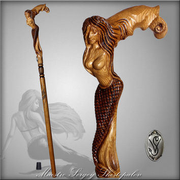 CRYING MERMAID CANE light walking stick wooden handle handcarved crafted authors made top art