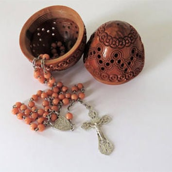 Antique French, Coral And Silver Rosary And Corizo Egg