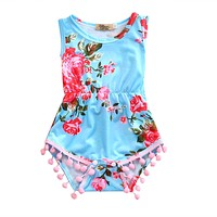 Newborn Kids Baby Girl Sleeveless Tassel Romper Jumpsuit Clothes Clothing