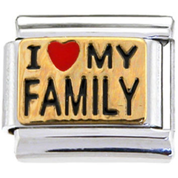 Gold I LOVE MY FAMILY Italian Charm