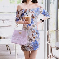 Apricot Slash Neck Floral Dress