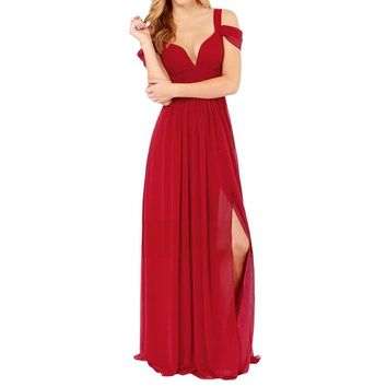 Sue&Joe Women's Maxi Ball Gowns Deep V-neck Chiffon High Slit Evening Night Dress