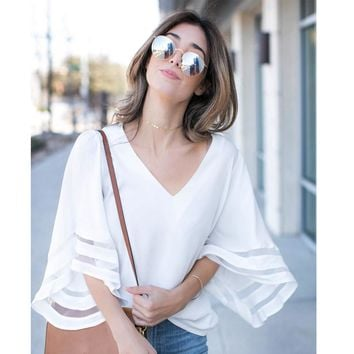 2018 New Fashion Summer women cute chiffon blouses casual flare sleeve shirts white loose tops