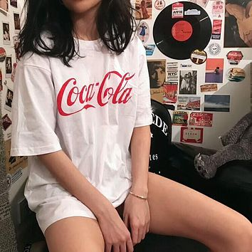 Coca-Cola Popular Unisex Casual Red Letter Print Short Sleeve T-Shirt Pullover Top White I-AA-XDD