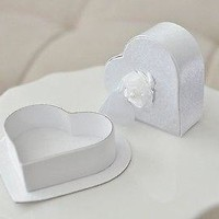 2 White Satin Heart Shaped Jewelry Gift Box with Rose Gift Tag Wedding Anniversary