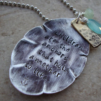 Mothers necklace upcycled tea spoon hammered hand stamped personalized