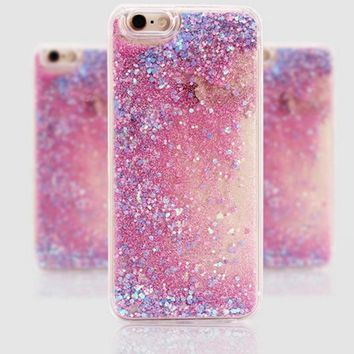 Sparkling Back Cases Cover Paillette Glitter Star Heart Flowing Water Liquid For iPhone 6 6s 7 Plus Heart TPU+PC Phone Cases
