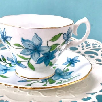 Queen Anne Teacup and Saucer, English Teacups, Blue Tea Cup Vintage Bone China Cup and Saucer, Tea Set, Bridal Shower Gift, Blue Wedding