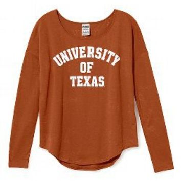 University of Texas Burnout Long-sleeve Drapey Tee - Victorias Secret PINK - Victoria's Secret