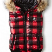 AEO Women's Get Down Buffalo Check Puffer Vest (Red)